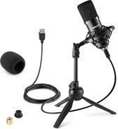 USB microfoon voor pc - Vonyx CM300B USB studio microfoon incl. inklapbare tafelstandaard voor podcast, gaming, streaming, vlogs, ps4, etc. - Zwart