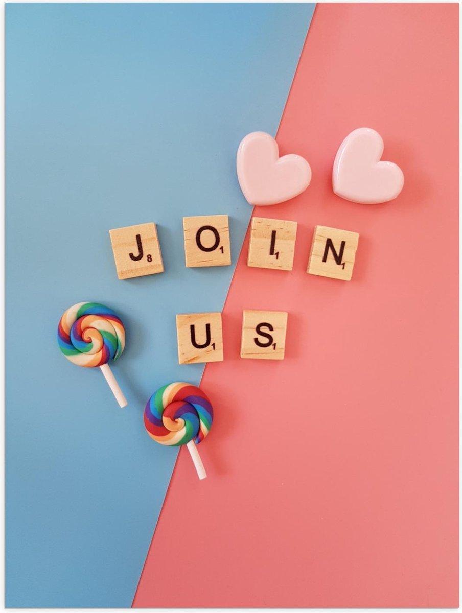 Poster – ''Join Us'' Scrabble Letters - 30x40cm Foto op Posterpapier