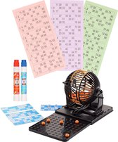 Bingo spel zwart/oranje complete set nummers 1-90 met molen, 148x bingokaarten en 2x stiften - Bingospel - Bingo spellen - Bingomolen met bingokaarten - Bingo spelen