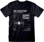 Star Wars - Tie Fighter Sketch  T-shirt Zwart