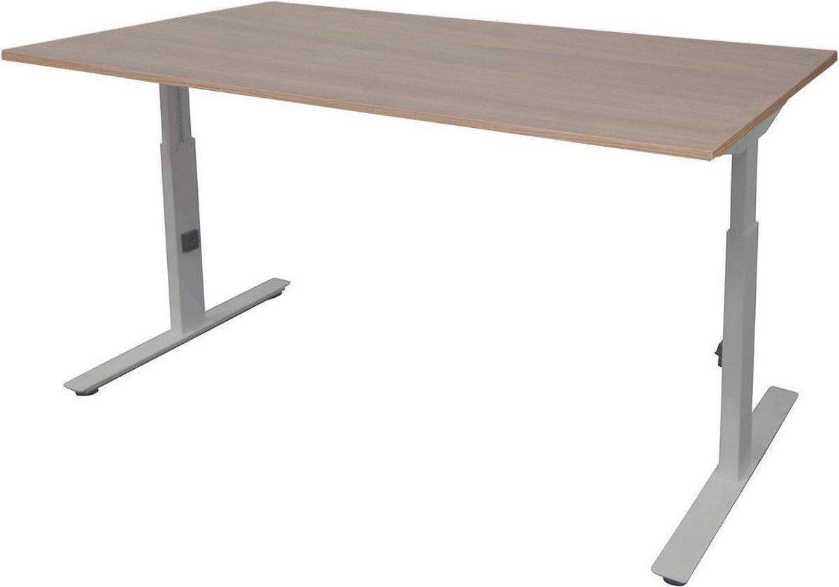Bureau - Bureautafel - Gaming bureau - Game bureau - Computertafel - Desk - Bureau wit - Verstelbaar bureau - Gaming Desk - Bureau tafel - Bureau verstelbaar--Havana blad-Aluminium  onderstel- 140x80