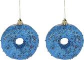 4x Kerstboomhangers kunststof donuts blauw 8,5 cm kerstversiering - Kerstboomversiering kerstornamenten/ornamenten