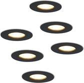 HOFTRONIC™ LED inbouwspots 6 stuks - Zwart - Rond - IP65 - GU10 - Dimbaar - Spot Bari - 5 Watt 2700K Warm Wit