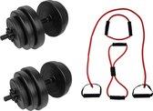 Tunturi - Fitness Set - Tunturi Vinyl Dumbbellset 28kg - Tubing Set Rood