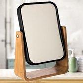 Decopatent® - Staande 360° Makeup Spiegel - Scheerspiegel - Badkamerspiegel - Glas Spiegel Achterkant 3x Vergrotend - Zwart Bamboe