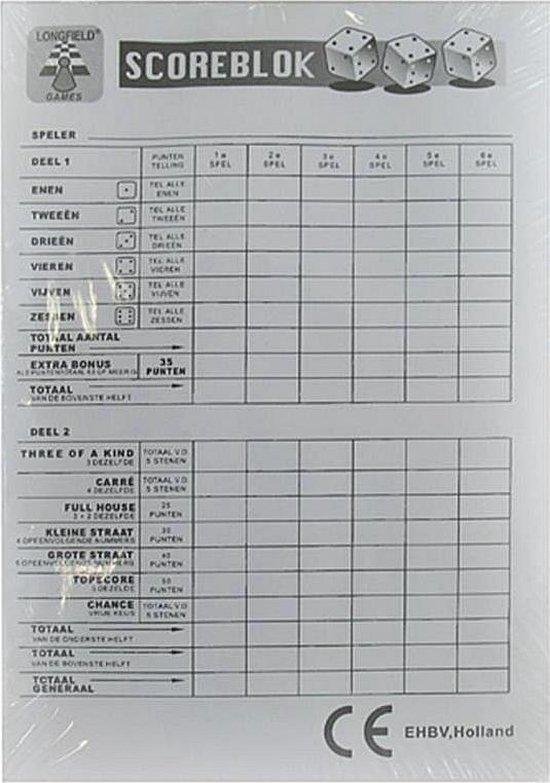 Longfield Games Yahtzee Scoreblok - 100 Vellen