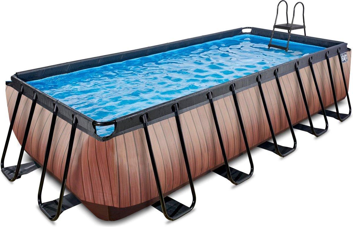 EXIT Wood zwembad 540x250x122cm met filterpomp - bruin