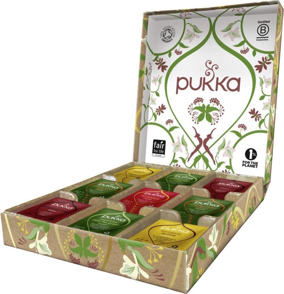 Pukka Active Theeselectie Geschenkdoos - 5 blends biologische kruidenthee - 45 zakjes