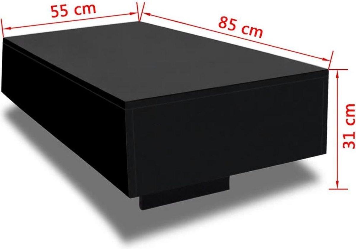 vidaXL Salontafel - 85 x 55 x 31 cm - MDF - Zwart hoogglans - vidaXL
