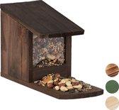 relaxdays eekhoorn voederhuisje - voederhuis - voederkast - voederbak - hout dark Brown