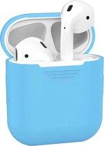 Siliconen Bescherm Hoesje Cover voor Apple AirPods 1 Case Licht Blauw