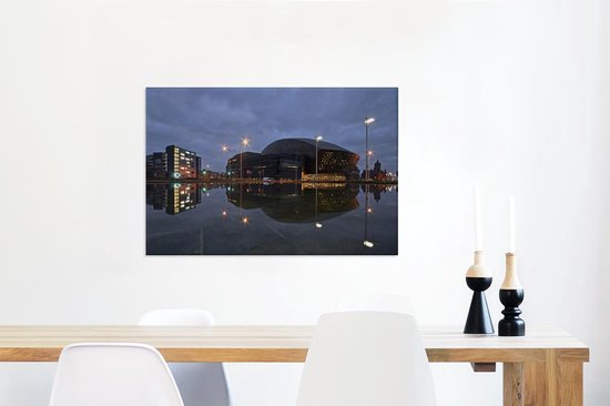 Uitzicht op het Wales Millennium Centre in Cardiff Canvas 60x40 cm - Foto print op Canvas schilderij (Wanddecoratie woonkamer / slaapkamer) / Europese steden Canvas Schilderijen