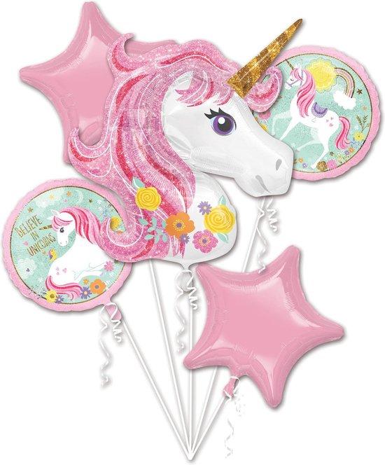 Amscan Folieballonnen Magical Unicorn Meisjes Wit/roze 5 Stuks