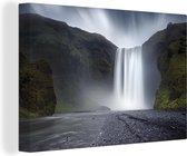 Waterval Canvas 30x20 cm - klein - Foto print op Canvas schilderij (Wanddecoratie woonkamer / slaapkamer)