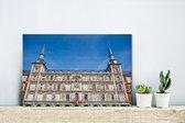 Historische plein Plaza Mayor in Spanje Canvas 30x20 cm - klein - Foto print op Canvas schilderij (Wanddecoratie woonkamer / slaapkamer)