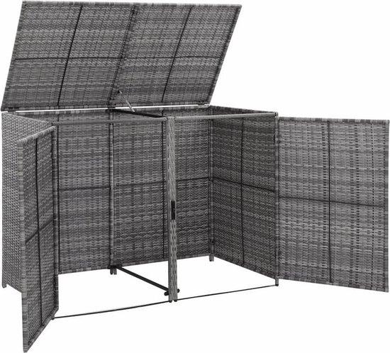 vidaXL Containerberging dubbel 148x77x111 cm poly rattan antraciet VDXL_46463