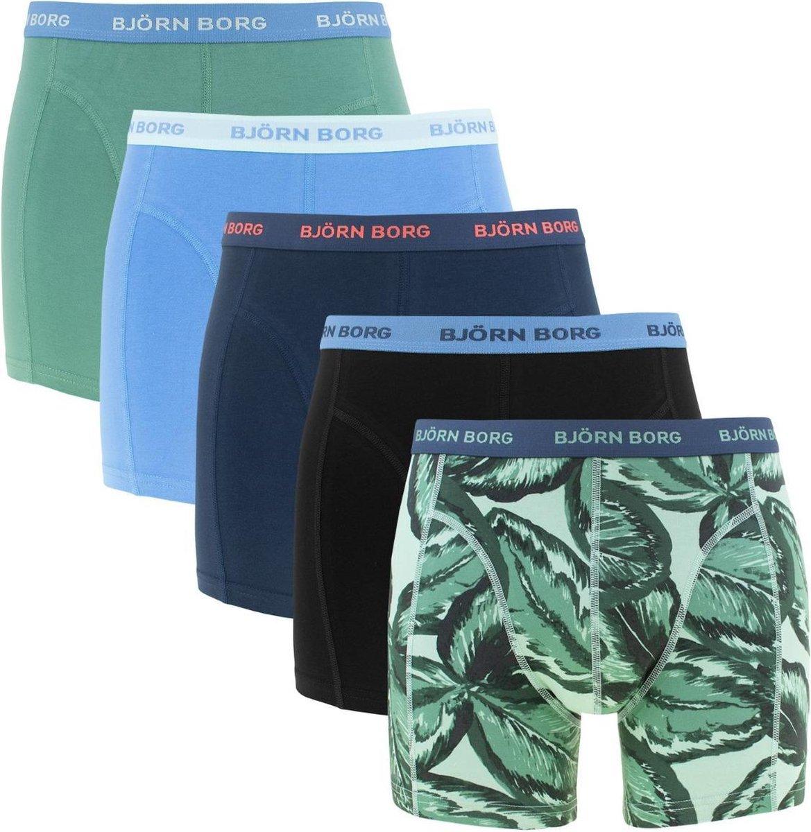 Björn Borg - boxershorts Heren - 5-pack - blauw/groen/print/uni - Essential-  Maat M
