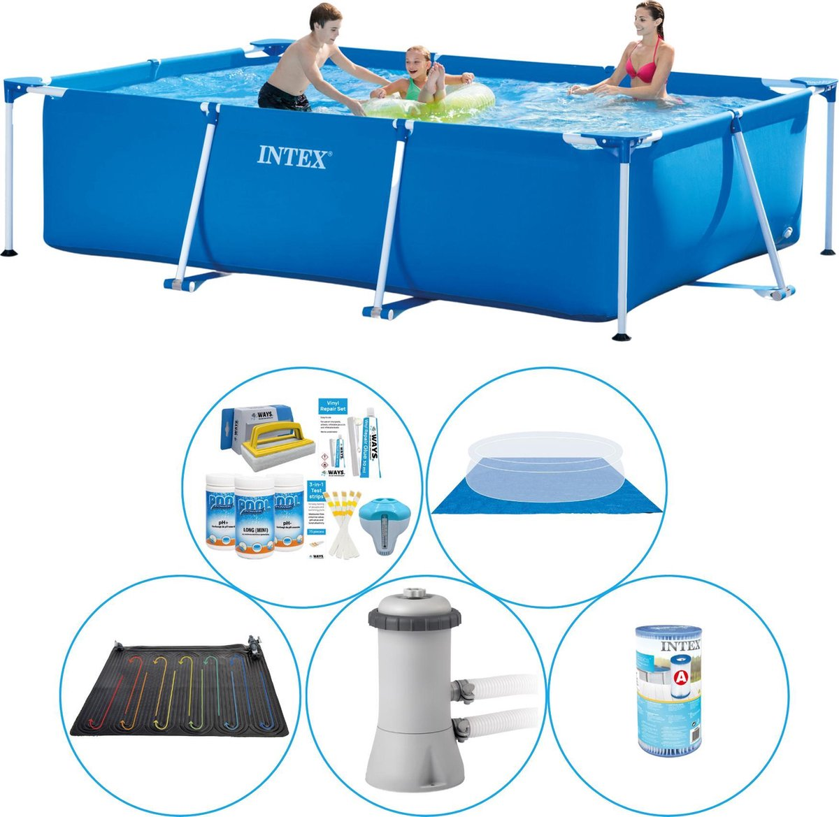 Intex Frame Pool Rechthoekig 300x200x75 cm - 6-delig - Zwembad Plus Accessoires