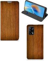 Stand Case OPPO A74 4G Telefoonhoesje Donker Hout