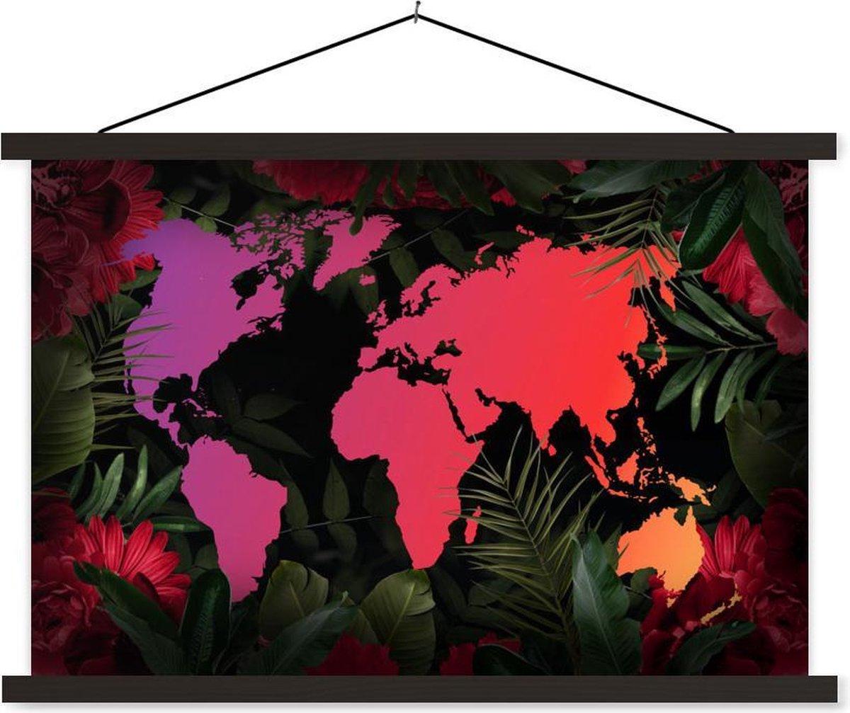Schoolplaat - Wereldkaart - Kleuren - Jungle - 90x60 cm