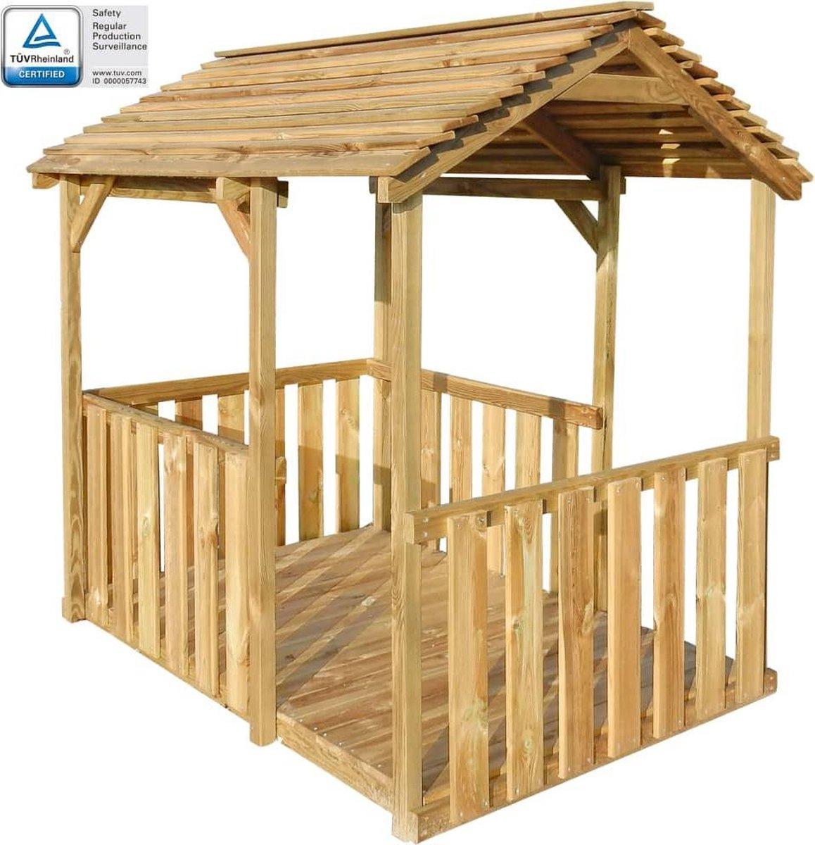 vidaXL Buitenspeelhuis 122.5x160x163 cm grenenhout