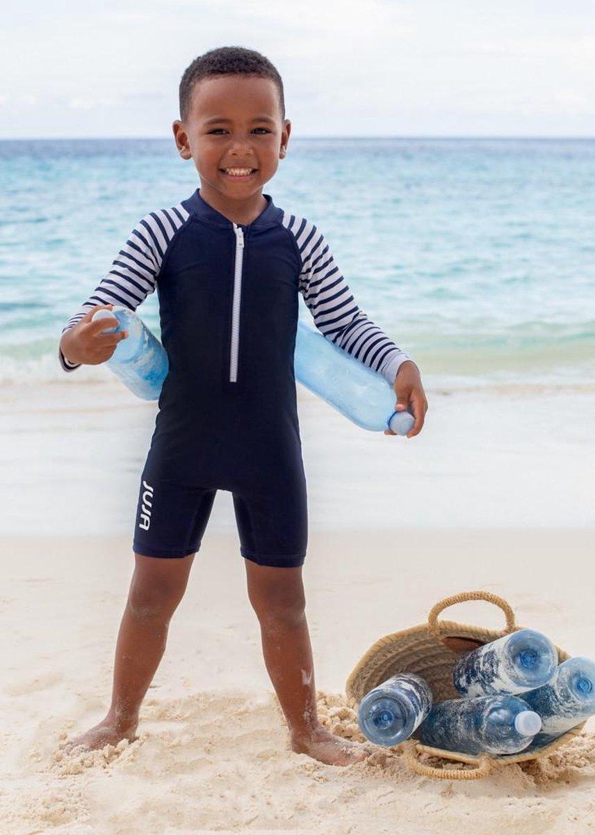 JUJA - UV Zwempak voor baby's - lange mouwen - Stripy - Donkerblauw - maat 92-98cm
