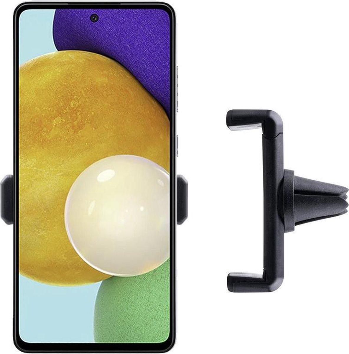 Shop4 – Samsung Galaxy A52 Autohouder Verstelbare Ventilatierooster Houder Zwart