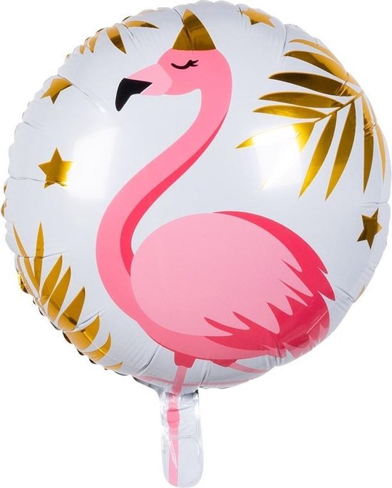 Boland Folieballon Flamingo 45 Cm Wit/roze