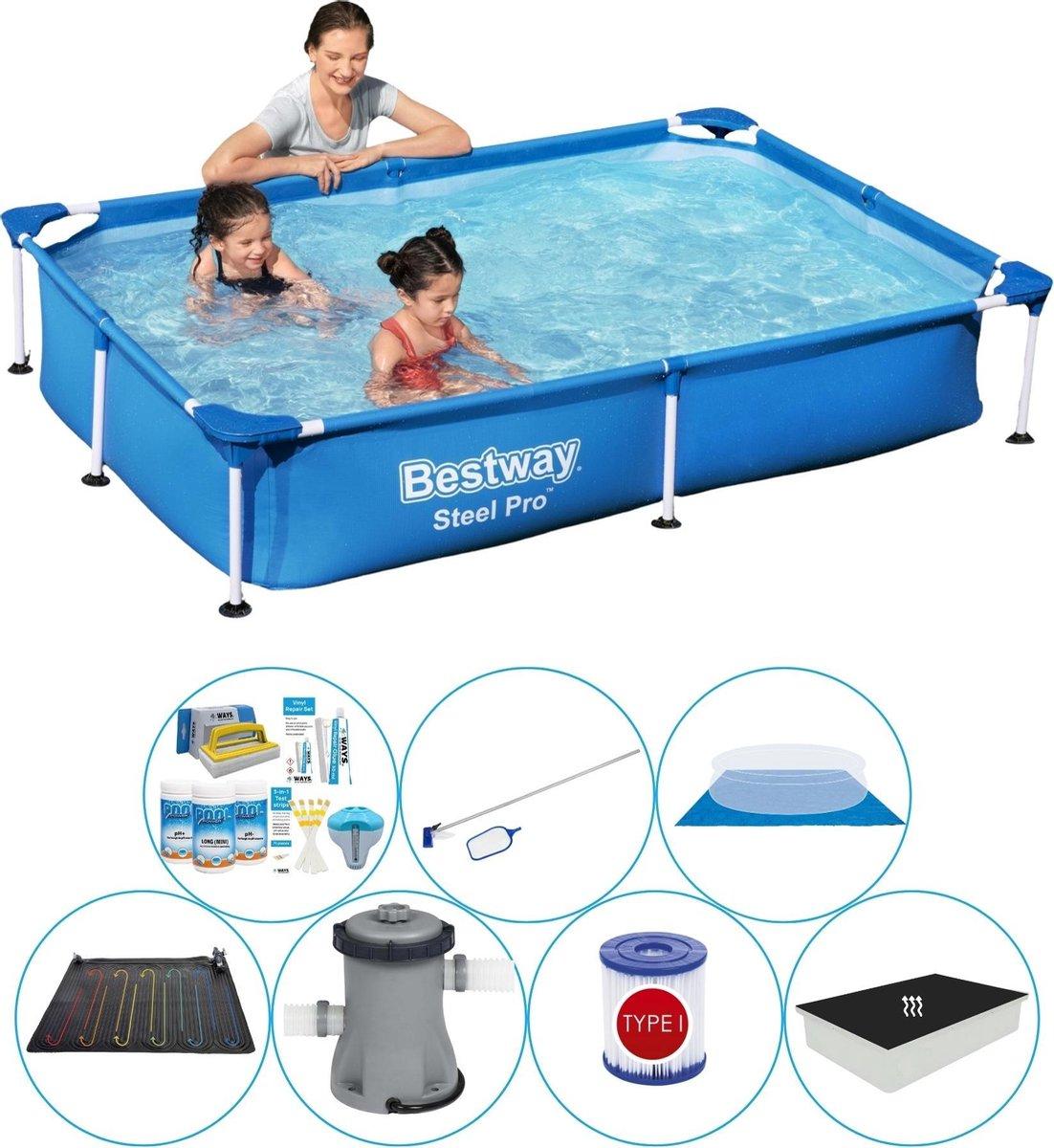 Bestway zwembad met filterpomp - 220 x 150 x 43 - inclusief chloorset