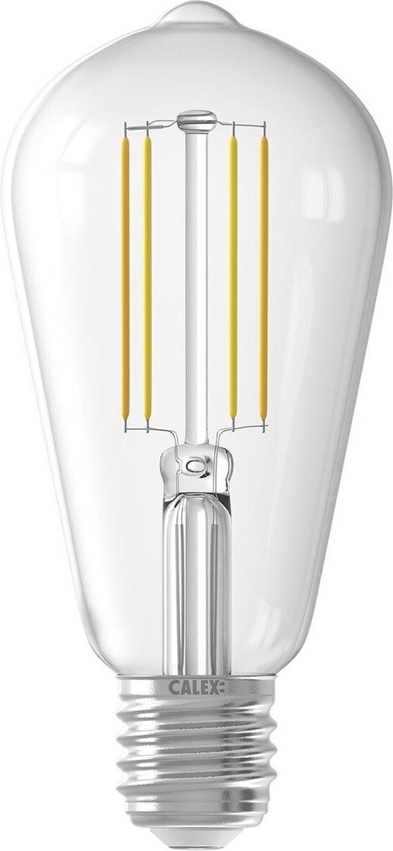 CALEX - LED Lamp - Smart LED ST64 - E27 Fitting - Dimbaar - 7W - Aanpasbare Kleur CCT - Transparant Helder