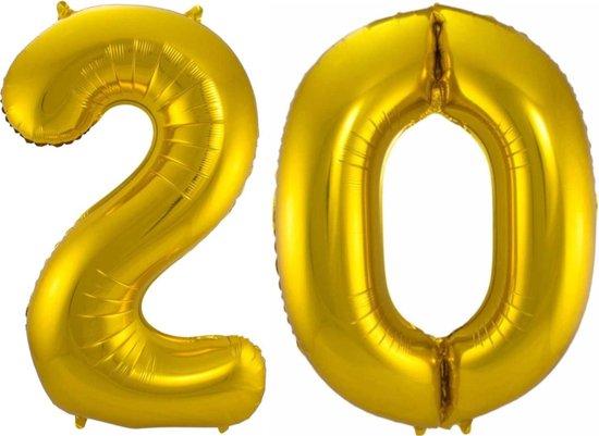 Ballon Cijfer 20 Jaar Goud 36Cm Verjaardag Feestversiering Met Rietje