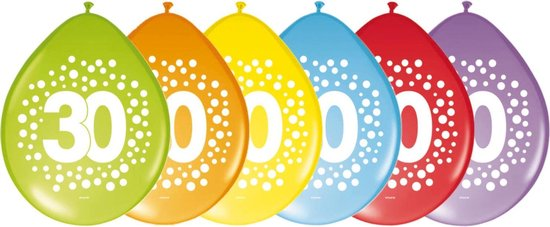 24x stuks verjaardag leeftijd party ballonnen in 30 jaar thema - Opgeblazen 29 cm - Feestartikelen/versieringen