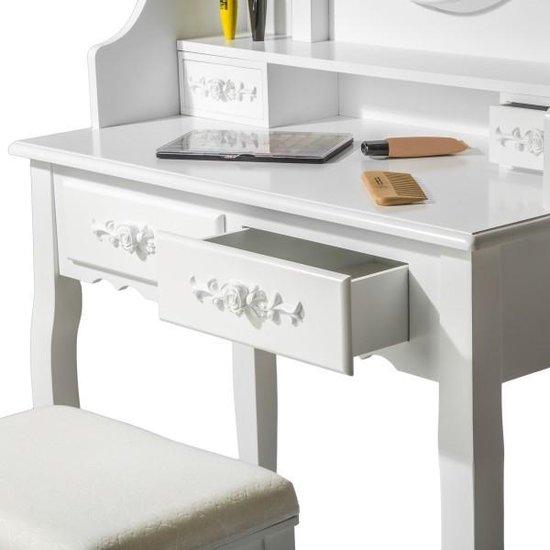 TecTake Make up tafel/kaptafel met spiegel en krukje - Wit - Hout - 402072 - Tectake