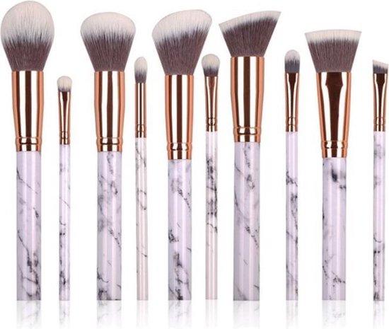 Marble brushes set van 10 kwasten - rose gold & white | SkinCare by K - SkinCare by K