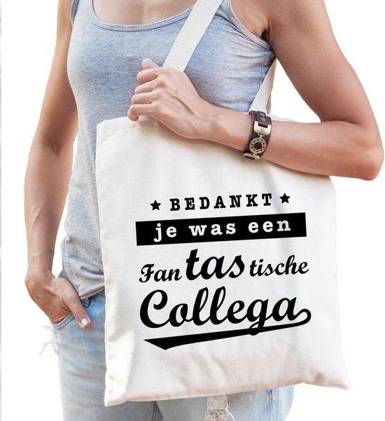 Cadeau tas naturel katoen met de tekst Fantastische collega - kadotasje / shopper voor collega dames