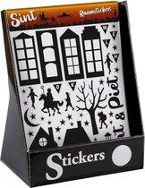 2x Vel met Sinterklaas raamstickers zwart  - Raam decoratie/versiering Sint en Piet stickers op vel A4 formaat