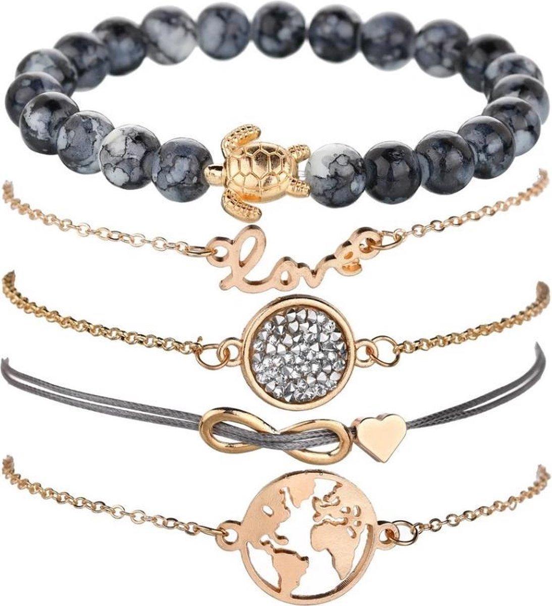 Joboly Set armbanden infinity love hartje diamant wereldbol en schildpad 5 delig - Dames - Goudkleur