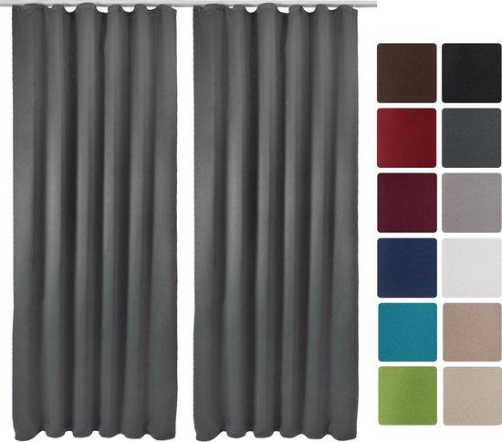 Beautissu Verduisterende Gordijnen Blackout Curtains met Plooiband - Blackout Gordijnen Verduisterend  Set van 2 - Amelie Nora BK - 140x245cm Antraciet