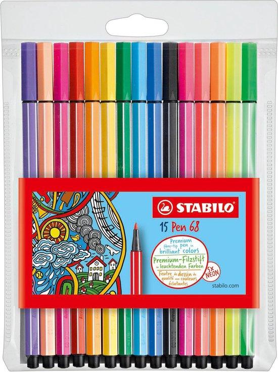 Afbeelding van STABILO Pen 68 - Premium Viltstift - 15 Stuks Etui - 10 Standaard + 5 Neon Kleuren