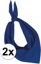 2x Zakdoek bandana kobalt blauw - hoofddoekjes