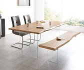 Massief houten tafel Live-Edge acacia natuur 200x100 bovenblad 3,5 cm glazen poten boomtafel