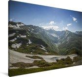 Sneeuw op de bergen van het Nationaal park Hohe Tauern in Oostenrijk Canvas 120x80 cm - Foto print op Canvas schilderij (Wanddecoratie woonkamer / slaapkamer)