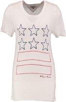 Tommy hilfiger zacht snow white t-shirt viscose linnen - Maat XS