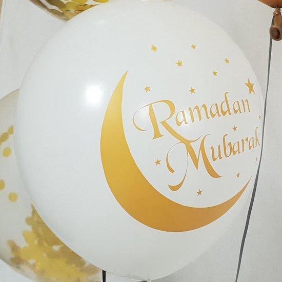 Ballonnen 'Ramadan Mubarak' Wit Goud- 5 stuks