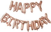 Folieballonnen 'Happy Birthday' - Rosé goud