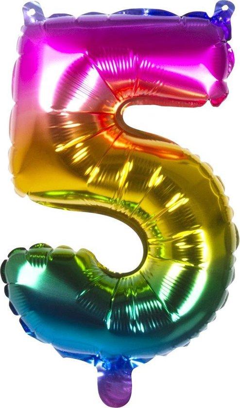Boland Folieballon Cijfer 5 Latex Regenboog 36 Cm