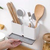 Decopatent® Keuken wandrek voor keukengerei - Hangend keukenrek met 3 opbergbakken en anti lekbak - Bestek en keuken accesoires
