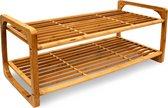 relaxdays Schoenenrek bamboe hout - Houten schoenenplank - Rek plank schoenen ca. 6 paar
