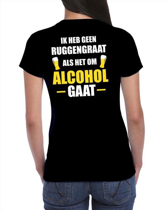 Oktoberfest Geen ruggengraat als het om alcohol / drank gaat fun t-shirt - zwart met wit en gele letters - voor dames - bier drink shirt kleding / outfit / themafeest L
