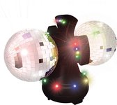 PartyFunLights discolamp - dubbele spiegelbal - roterend - LED